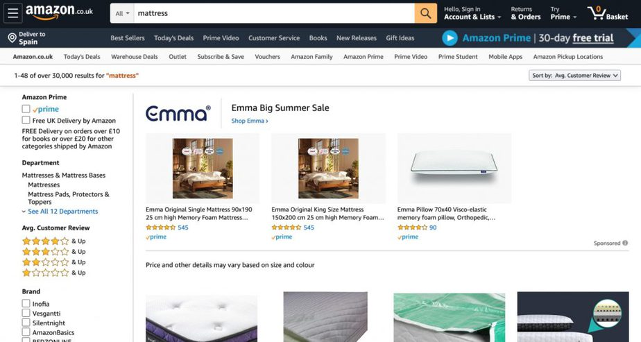 amazon uk mattresses buy online