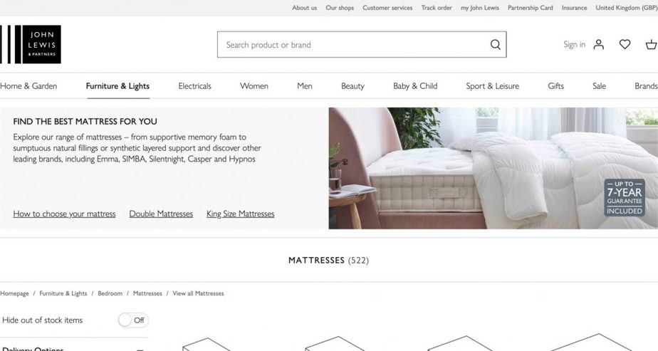 john lewis mattress retailer uk